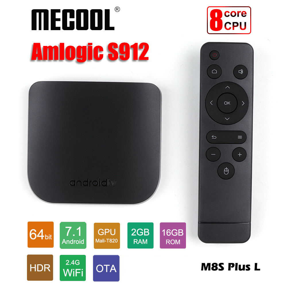 Mecool Android TV Box Octa rdzeń Amlogic S912 2 GB 16 GB, cienkie inteligentny odtwarzacz multimedialny 2.4G WiFi Android7.1 TV Box m8S oraz L