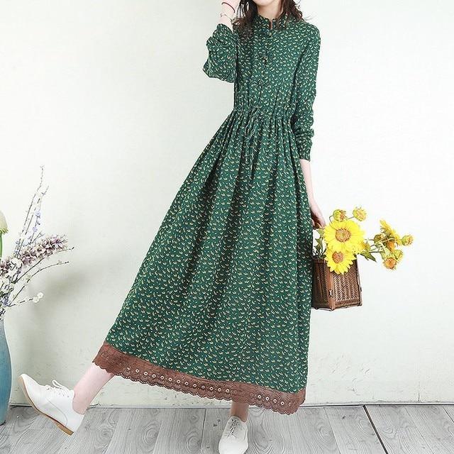 Women Cotton Linen Long Dress New Arrival 2021 Spring Vintage Floral Print Patchwork Lace Loose Female Casual Dresses D024 2