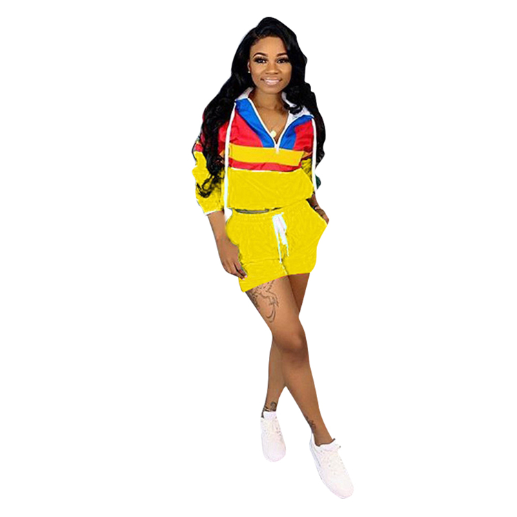 Fashionable Contrast Color Zippers Short Wholesale Hooded Top Drawstring Short Women Two Piece Set Spring And Summer Clothing