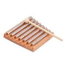 7-tom de madeira sinos com martelo instrumento de percussão para oração yoga meditação musical carrilhão brinquedo para crianças lembrete sino