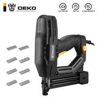 DEKO-pistola de aparejos y grapadora eléctrica, DKET02, grapa de muebles, para marco con grapas y herramienta de carpintería
