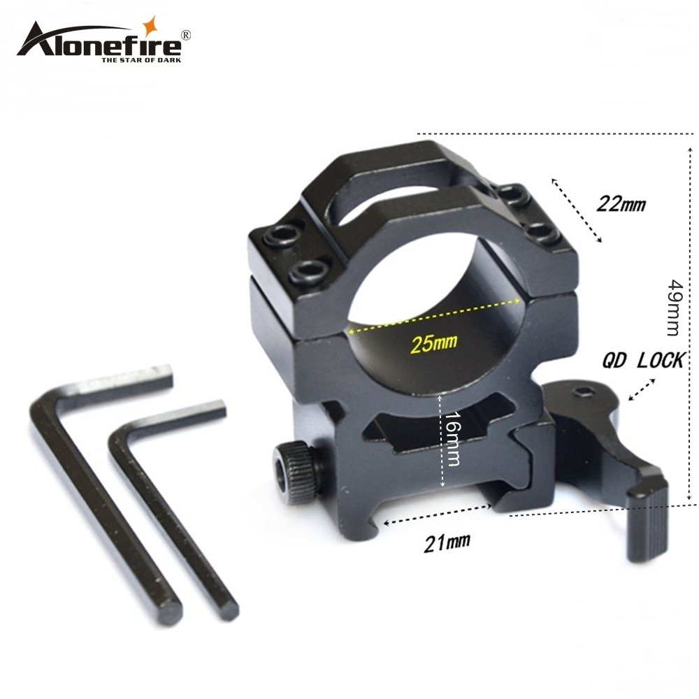 Alonefire KC14 Aluminum Compact Tactical QD Quick Release Mount Adapter Fit 21mm Picatinny Weaver Rail Base Hunting Accessories