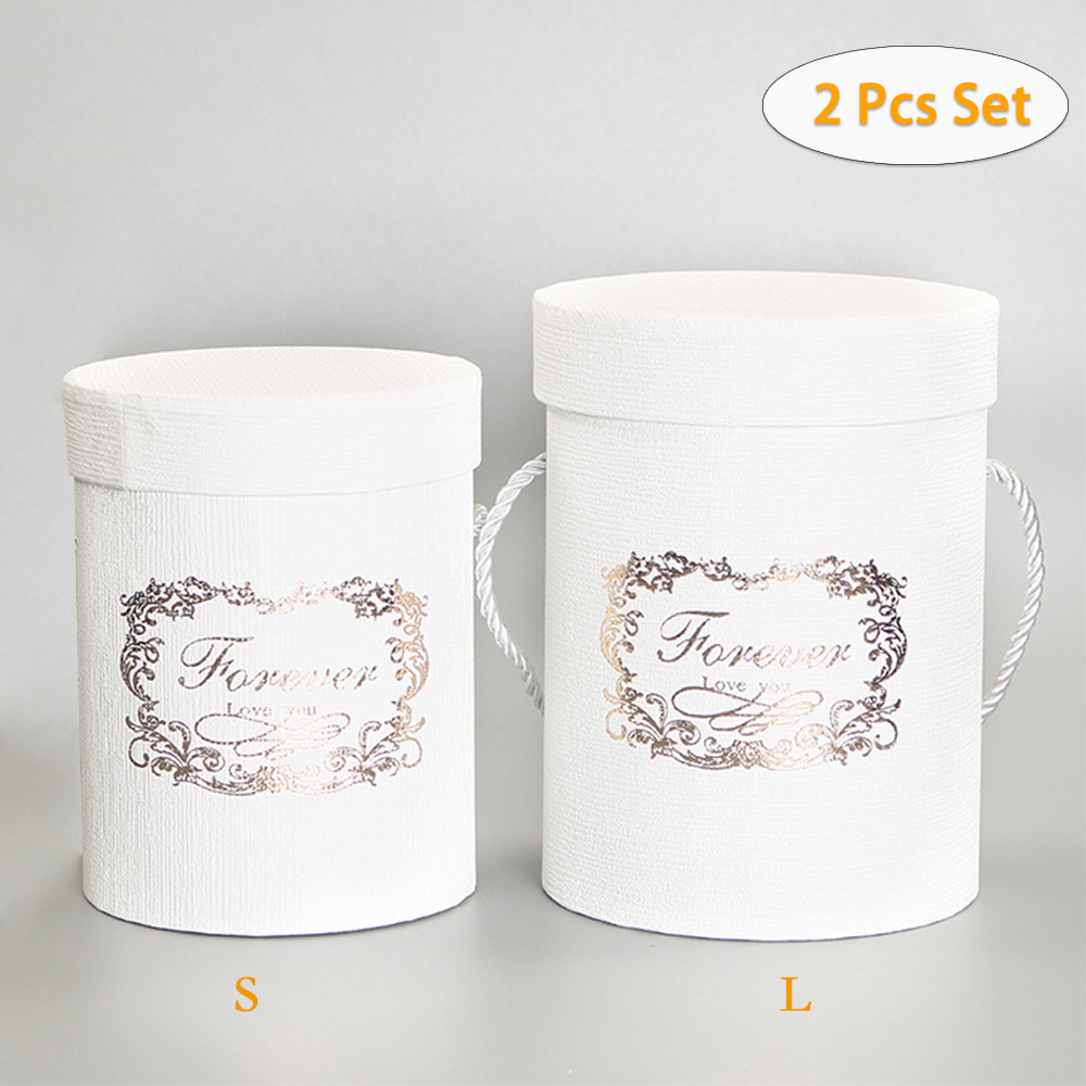 2Pcs S/L Set Flower Box Packing Floral Round Hat Boxes Paper Storage Hug Bucket With Lid Bucket With Lid Wedding Candy Gifts Box