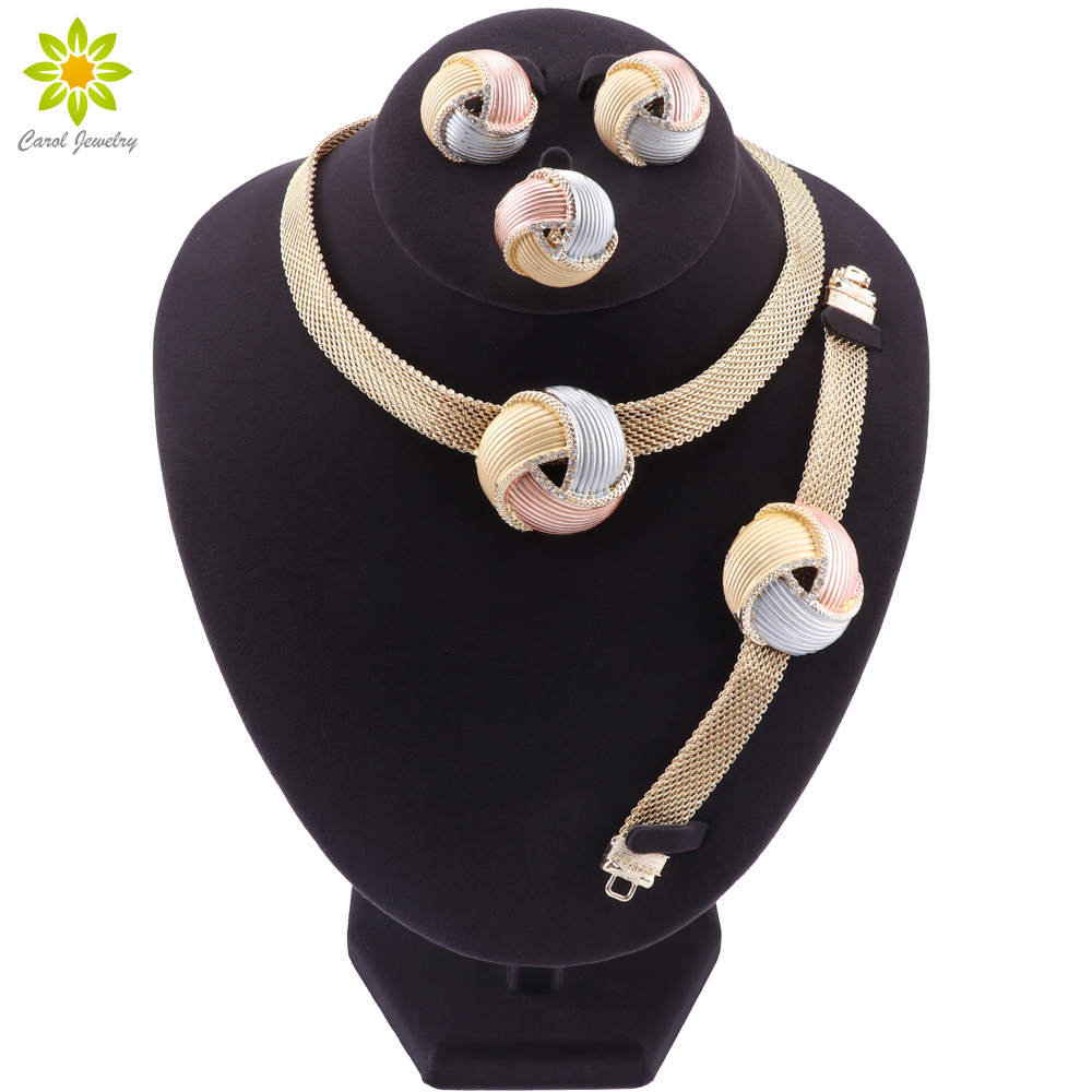 African Dubai Gold Bridal Jewelry Sets for Women Bracelet Earrings Wedding Party Crystal Necklace Ring Jewelry Sets
