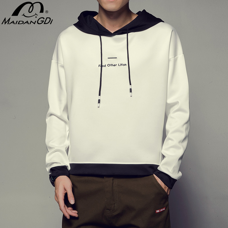 MAIDANGDI 2020 Spring Autumn Hot Sale Hoodies Teenager High Quality Solid Cotton Sweatshirt Male's Off White Streetwear Clothes