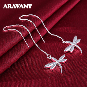 925 Silver Long Chain Dragonfly Dangle Earrings For Women Silver Jewelry Accessries image