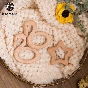 Image 5 - Lets Make Unicorn collar de dentición de madera de haya para bebé, mordedor de madera, dentición de caballo, abalorios de madera DIY, 10 Uds.