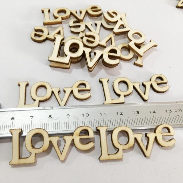 1.73*0.7 pouces 50pcs rustique en bois amour lettres décor bricolage bois artisanat Vintage Chic artisanat Scrapbook confettis décorations de mariage