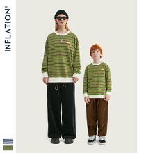 INFLATION Daddy & kids Stripe T-shirt Long Sleeve Father Son T-shirt Streetwear Loose Fit T-shirt Family Matching Clothing navy stripe pattern button design long sleeve t shirt