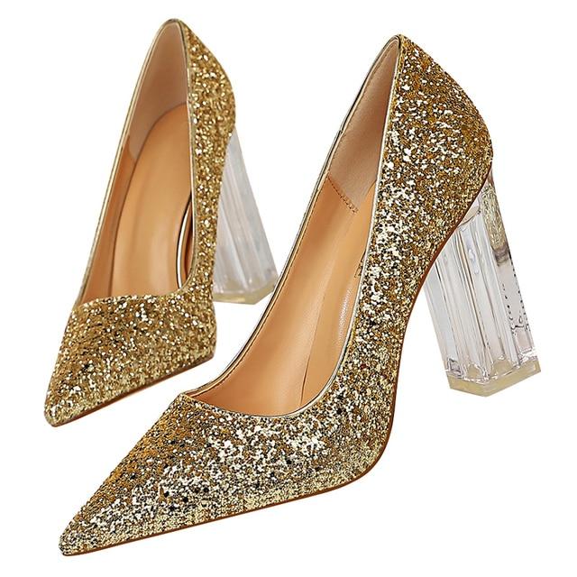 2020 Plus Size 43 Women Block 10cm High Heels Lady Scarpins Gold Silver Block Heels Pumps Female Wedding Transparent Chunky Shoe