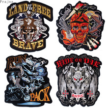 Prajna Skull Iron On Embroidered Patches Stripes For Clothes Biker Applique Big Motorcycle Patch Ironing Rock Stickers DIY