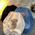 Женские пуловеры, зимние вязаные джемперы с милым медведем, вязаный свитер в стиле Харадзюку 2021, свободные пуловеры с круглым вырезом, больш...