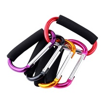 Aluminium Baby Stroller Hooks Button Carabiner Shopping Bags Carriage Pushchair Pram Carrier Hook Clip