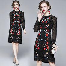 Женское кружевное платье с вышивкой zuoman элегантное винтажное