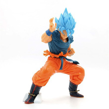 21cm Dragon Ball Z Super Saiyan 4 God Battle Version Blue Son Goku Action Figure Blue Hair Wukong PVC Collection Model Toys Gift japan anime dragon ball original megahouse dragon ball gals complete collection figure lunch black hair ver