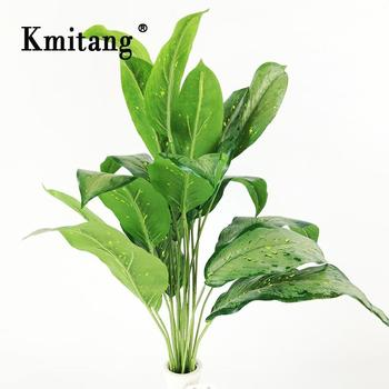 60cm 18 Fork Large Artificial Plants Plastic Monstera Leaves Tropical Palm Tree Fake Banana Tree Leaf For Home Garden Decoration