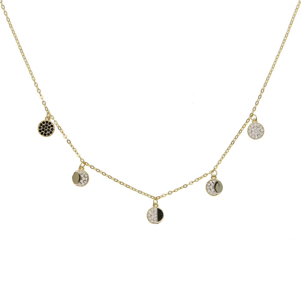 925 sterling silver delicate multi charm necklace micro pave cz round charm statement women Girlfriend Gift Gold filled Jewelry
