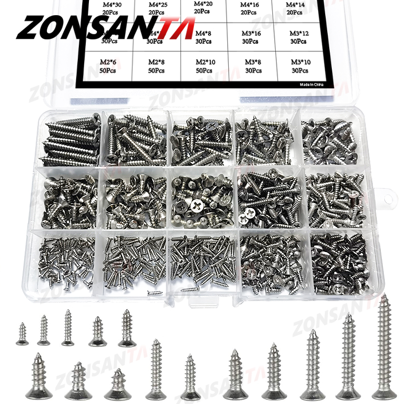 ZONSANTA M2 M3 M4 Self Tapping Screw Cross Countersunk Head Wood Screw Set 304 stainless steel Phillips Flat Head Screws DIY