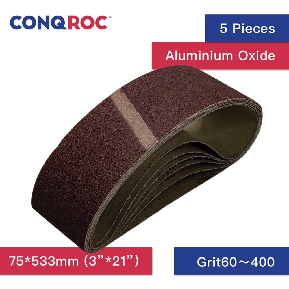 5 Pieces 75 X 533mm 3'' X 21'' Sanding Belt Aluminum Oxide Sander Belt Grit 40 60 80 100 120 180 240 320 400 600 Abrasive Tools