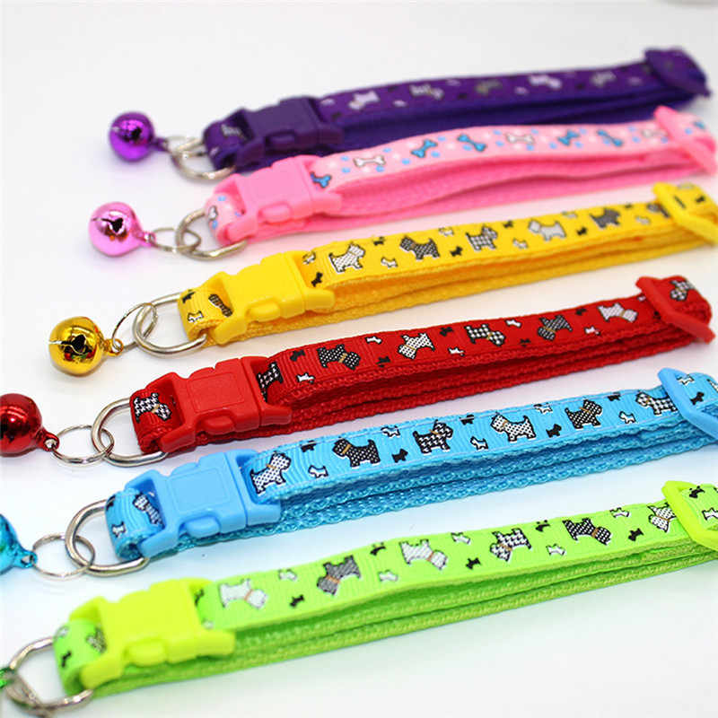 1 pcs Dog Bells Collar Safety Elastic Adjustable with Soft Nylon  Material 6 colors pet Product small dog Pet collar