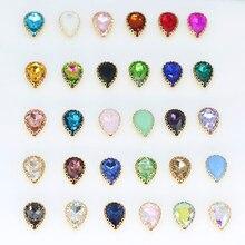 Todas as cores 6-25mm costurar na gota de água ouro flor garra definir strass cristal diamante jóias/vestido de casamento vestuário guarnições