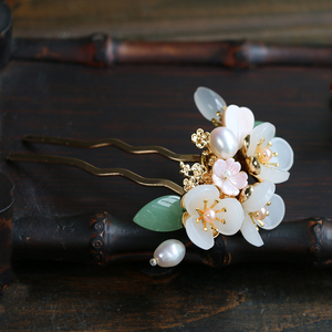 Image 5 - Copper Freshwater Pearl Hair Pins Gem Stone Hair Pin Flower Chinese Hairpin Wedding Hair Accessories Pince Cheveux WIGO1359
