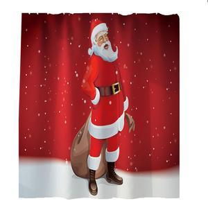 Image 3 - 4Pcs Vrolijk Kerstfeest Anti Slip Badkamer Tapijten Set Waterdicht Douchegordijn Voetstuk Tapijt Deksel Wc Cover Badmat Thuis decor HH4