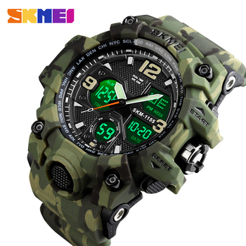 SKMEI Japanese Movement Quartz Digital 2 Time Male Clock 5Bar Waterproof Military Army Cowboy Men Sports Watches 1155B 15 Colors - discount item  90% OFF Men's Watches