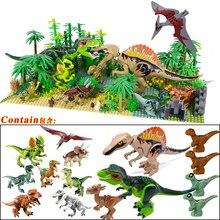 Novo dinossauro jurássico floresta tropical animais diy blocos dinossauros mini modelos blocos de construção tijolos criança dino brinquedos para crianças