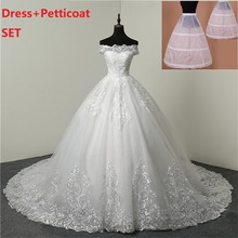 Petticoat Ball-Gown Wedding-Gown Marriage Bridal Off-Shoulder White Plus-Size Ivory Lace-Up