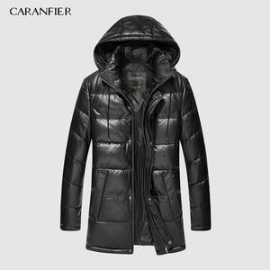 Image 5 - CARANFIER 新 2019 ジャケット男性本革ダウンジャケット冬のアウターシープスキンのコートのオーバーコート