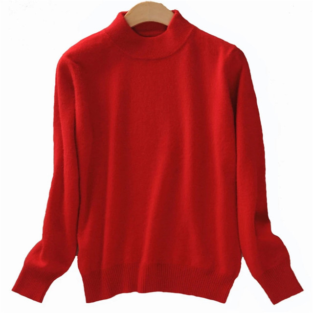 Women Cashmere 2021 New Autumn Winter Vintage Half Turtleneck Sweaters Plus Size Loose Wool Knitted Pullovers Female Knitwear11 2