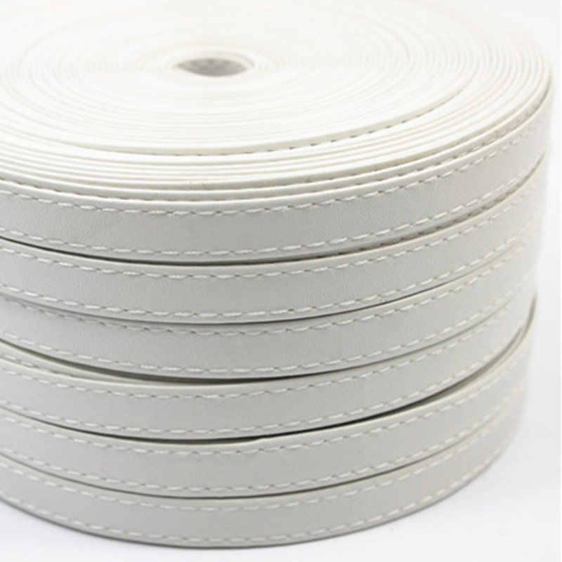 Sisi 工芸品テープフラットフェイクレザー黒ステッチリボン白 pu コードバイアス diy 毛の弓ハンドメイド帳プランナーアクセサ