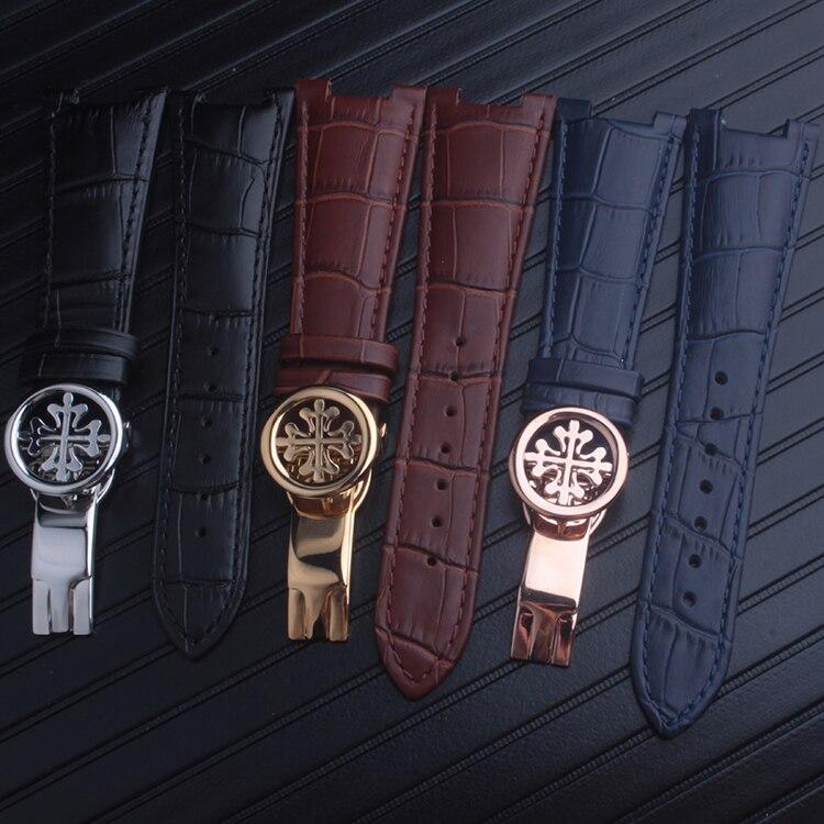 Black Brown Blue Genuine Leather Band Strap Bracelet (FITS) Patek Philippe Nautilus 25mm X14mm