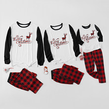 Elk Plaid Family Christmas Pajamas Sets Mommy Dad and Me Matching Sleepwear Clothes Family Look Pyjamas Nightwear Outfits & Hats(Hong Kong,China)