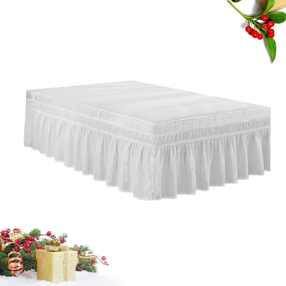 Elastic Dust Ruffle Bed Shirt Fashion Polyester Bed Bedding Pleated Skirt for Home Hotel - 100x200cm (White)