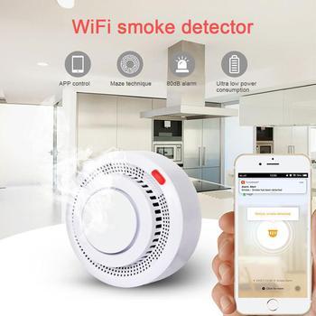 Inteligentna bezprzewodowa detektor dymu aplikacja domowa WiFi ochrona przeciwpożarowa Alarm czujnik dymu dym ostrzeżenie 80dB wykrywacz bezpieczeństwa System tanie i dobre opinie CN (pochodzenie) 318186