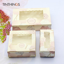 20 adet kağıt hediye kutusu ile pencere pembe mermer düğün parti gıda ambalaj şeker düğün karton kek kutuları sevgililer gün