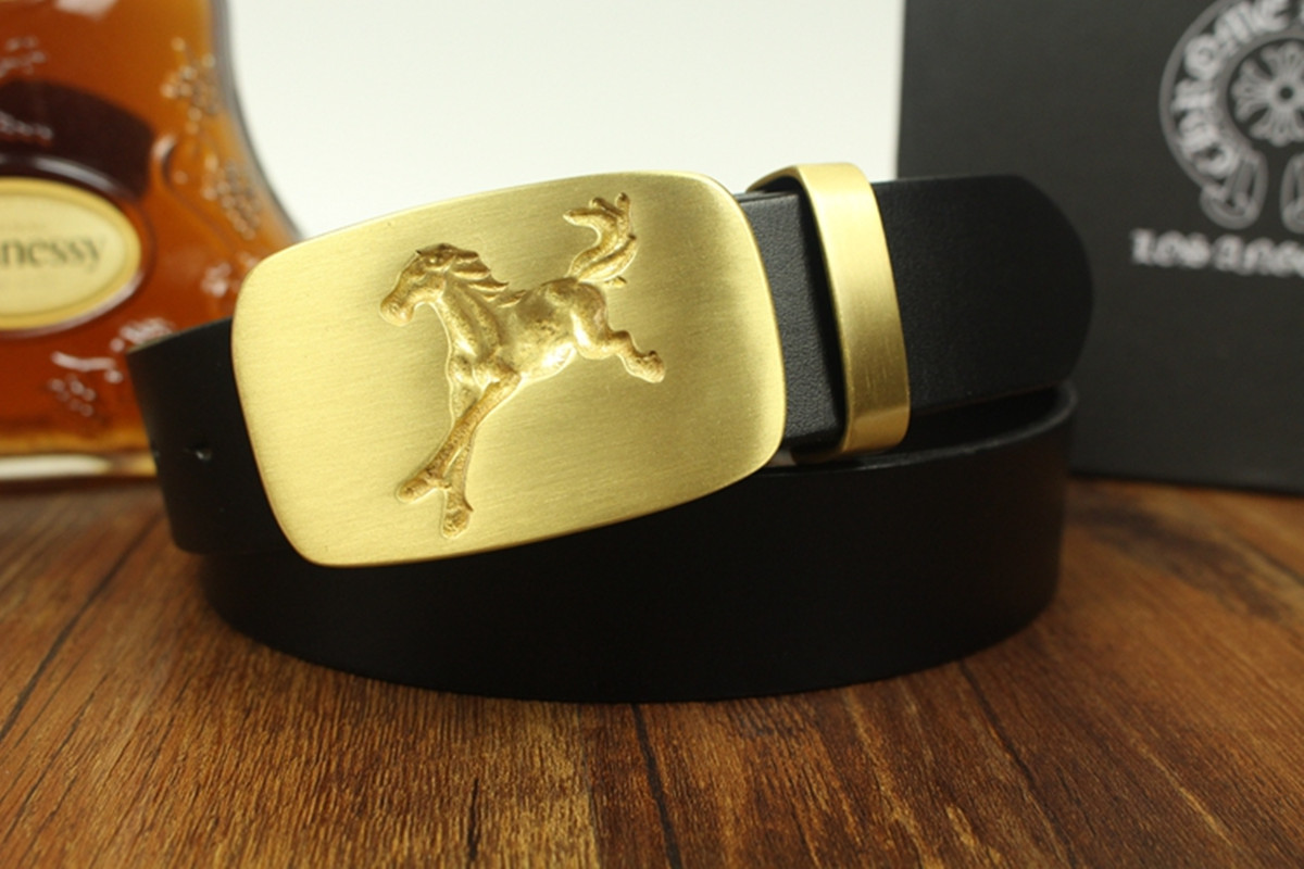 Pure copper Buckle men's belt real leather Pure cowhide Quality Design Auspicious Pattern Embossing horse Korean version