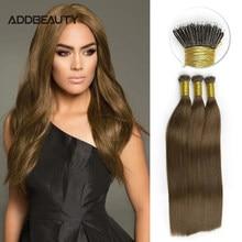 A queratina reta do cabelo da fusão de nanoring encerra 40g 50g extensão crua brasileira do cabelo humano do virgin ombre da extremidade grossa de alta qualidade