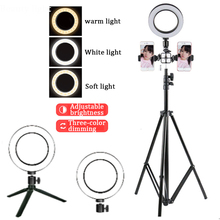 Photography Dimmable LED Selfie Ring Light Youtube Video Live 3500-5500k Photo Studio With Phone Holder USB Plug Tripod
