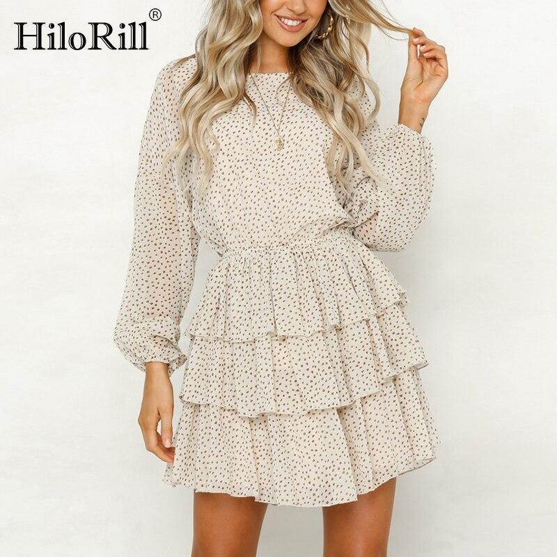 HiloRill Chic Dot Print Chiffon Mini Dress Women Summer Back Hollow Out Ruffle Party Dresses O Neck Long Sleeve Boho Sundress