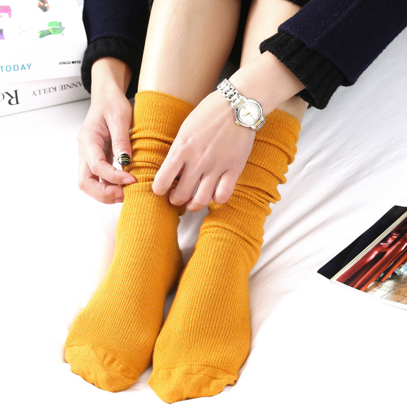 REFJJ 1Pair New Autumn Winter Wear Cute Cotton Solid Color School Style Long Soft Socks Edge Curl Stocks For Women Girls