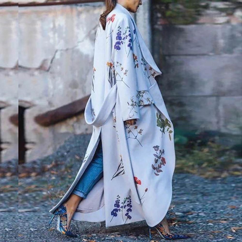 New Fashion 2019 Autumn Women Casual Vintage Elegant Long Loose Floral Printed   Trench   Coat Turn-Down Collar irregular Outwear