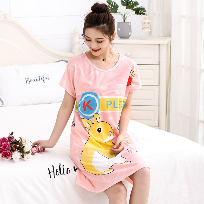 New Products Short Sleeve Nightgown GIRL'S Summer Students Double-Sided Printed Cartoon Cute Pajamas Plus-sized Home Wear