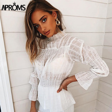 New Elegant High Neck Plaid Blouse Shirt Women Casual Long Sleeve Ruched Pleated Cotton Top Lady Office Street Style Blouses