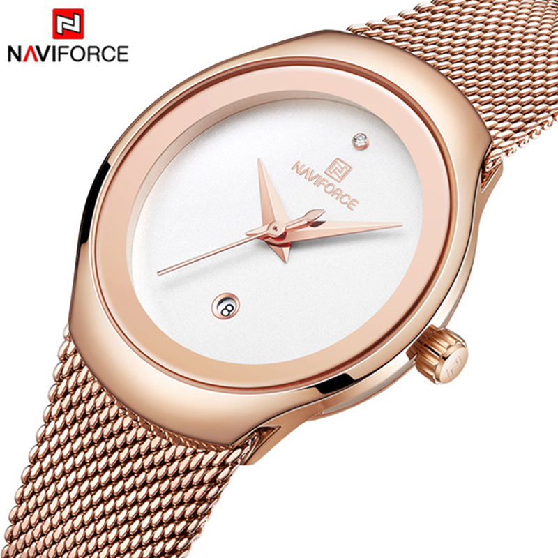 NAVIFORCE Fashion Women Watches Dress Quartz Watch Lady Stainless Steel Waterproof Wristwatch Simple Girl Clock Relogio Feminino Women's Watches     - title=