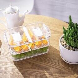 プラスチックダブル密封された排水収納ボックス冷蔵庫フルーツ野菜の排水保存容器蓋キッチン冷蔵庫オーガナイザー