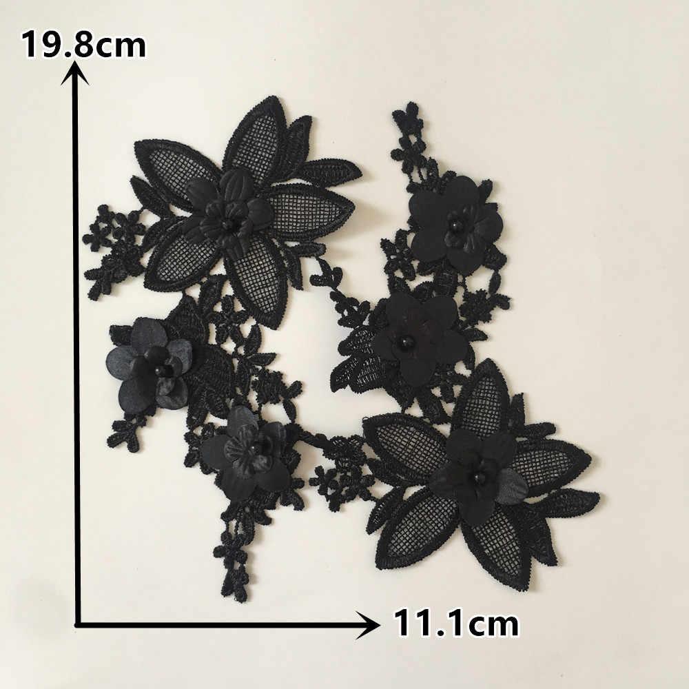 Alta calidad bordado poliéster cordones cuello aplicación DIY ABS perla encaje tela artesanía materiales vestimenta accesorios de costura