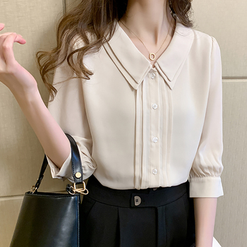 Peter Pan Collar Pullover Shirt Women 2020 Summer Tops Half Sleeve Casual Woman Clothes Button Chiffon Blouse Chemisier Femme long sleeve girl chiffon blouse spring autumn kids peter pan collar back to school blouse and shirts for teeange girls 12 years